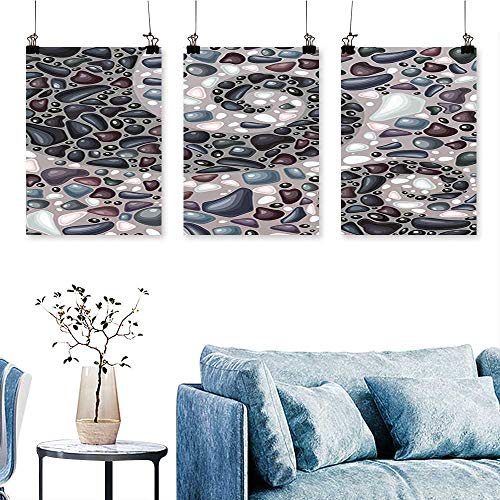 SCOCICI1588 3-Piece Modern Mountains Volcanic Stones Image Pebbles on Cement Print Slate Blue Black and Print On Canvas No Frame 16 INCH X 30 INCH X 3PCS