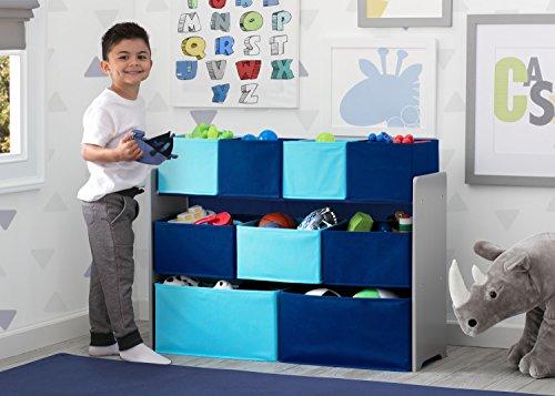 51TVt5q3hNL - Delta Children Deluxe Multi-Bin Toy Organizer with Storage Bins, Grey/Blue