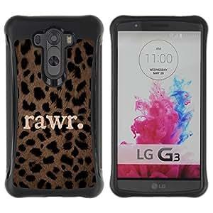 Fuerte Suave TPU GEL Caso Carcasa de Protección Funda para LG G3 / Business Style rawr cute leopard pattern text animal