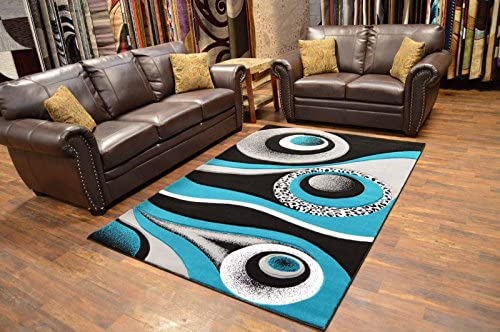 Premium 3D Effect Hand Carved Modern 2×3 Contemporary Rug 1504 Turquoise Blue by Artistry Rugs