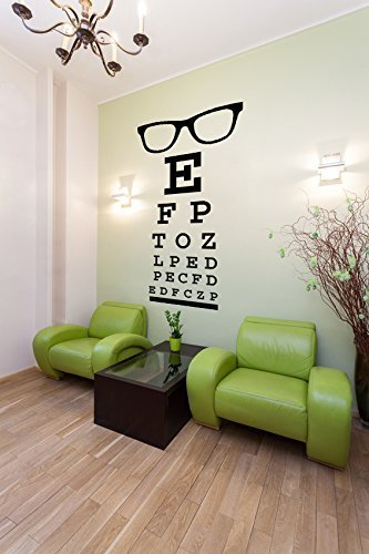 Glasses Decal, Eye Chart Decal, Wall Decal Letters, Eye Doctor Gift, Optometry Art, Dorm Decor, Hipster Wall Art, Eyewear Specs - For Frames Specs