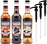 Upouria Coffee Syrup Variety Pack - French Vanilla, Mocha, and Caramel Flavoring, 100% Gluten Free, Vegan, and Non Dairy, 750 mL Bottle - 3 Coffee Syrup Pumps Included