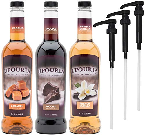 (Upouria Coffee Syrup Variety Pack - French Vanilla, Mocha, and Caramel Flavoring, 100% Gluten Free, Vegan, and Non Dairy, 750 mL Bottle - 3 Coffee Syrup Pumps Included)
