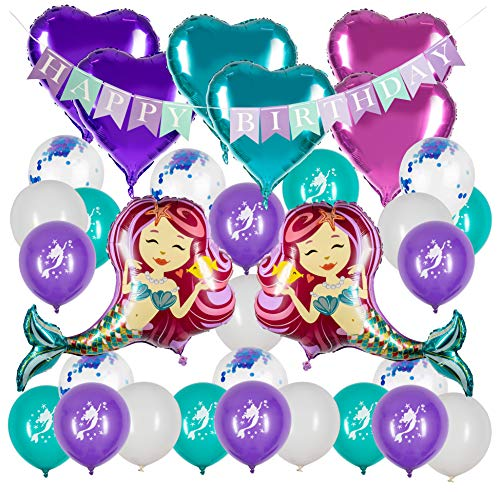 Happy Birthday Banner and Balloons for Mermaid Theme Party