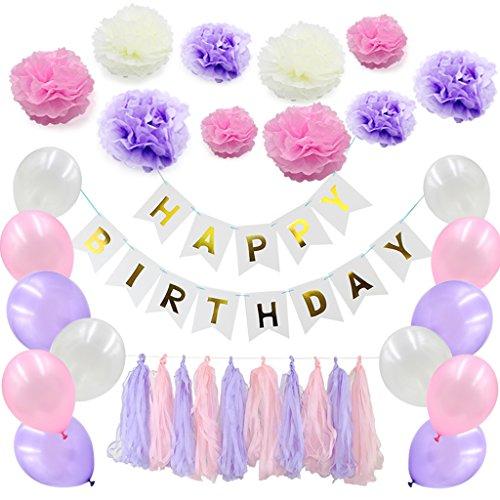 Sixinu 51pcs/set Happy Birthday Banner Tissue Paper Balloon Tassel Garland Party Decor