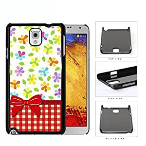 Flowers And Leaves With Red Plaid Pattern Hard Plastic Snap On Cell Phone Case Samsung Galaxy Note 3 III N9000 N9002 N9005