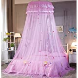 Princess Bed Canopy Mosquito Net Kids Baby Crib, Round Dome Kids Indoor Outdoor Play Tent (Pink)