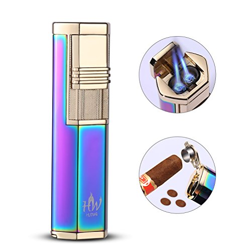 HUOWA Dual Jets Torch Cigar Lighter with a Cigar Punch Cutter, Butane Gas Fuel Refillable Windproof Cigarette Lighter (Colorful) ()