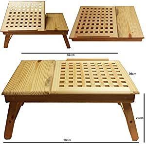 FunkyBuys?Foldable Natural Pine Mesh (SYWD-003) Wooden Wood Adjustable Lap Tray/Desk Notebook Adjustable Height Laptop Tray by FunkyBuys