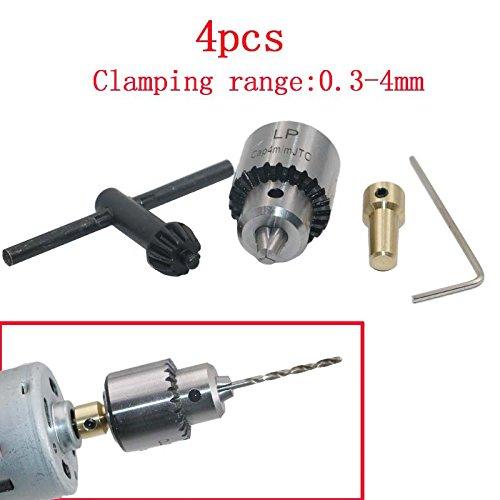 lzndeal 4 pcs/Set Micro Motor Taladro Mandril Broca Cono 0.3 –  4 mm con Chuck Llave 3.17 mm 1/8 Inch á rbol Bielle