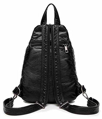 randonnée Noir de dos Mode Sacs Femme Daypacks à Daypack Pu Cuir Zippers AllhqFashion FBUFBD180711 O0w1qCW