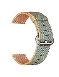 Smart Watch Band, Uitee Woven Nylon Band for Apple Watch 38mm Series 1 & 2, Uniquely and Artistically Designed Replacement Strap, Comfortably Light With Fabric-Like Feel (Gold&Royal Blue)