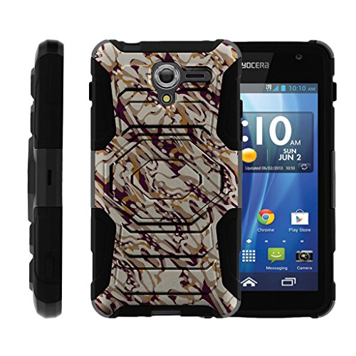 TurtleArmor | Kyocera Hydro View Case | Hydro Reach Case | Hydro Shore Case [Octo Guard] High Duty Proof Clip Holster Rigid Kickstand Rubber Hard Camouflage Case - Blended Mocha Camouflage