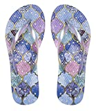 Showaflops Womens' Antimicrobial Shower & Water Sandals for Pool, Beach, Dorm and Gym - Moroccan Tiles 9/10