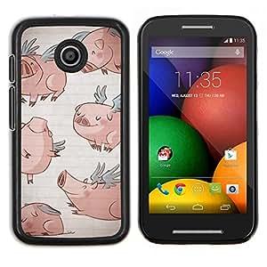 Caucho caso de Shell duro de la cubierta de accesorios de protección BY RAYDREAMMM - Motorola Moto E - alas de cerdo de dibujos animados divertido del azul de dibujo