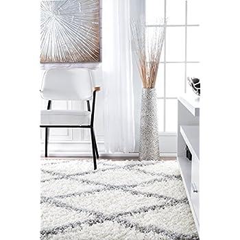 nuLOOM Cozy Soft and Plush Diamond Trellis Shag Area Rug, 8 x 10