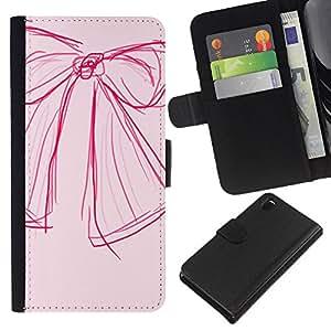 KLONGSHOP // Tirón de la caja Cartera de cuero con ranuras para tarjetas - Diseño Bosquejo Arte Rosa Rojo Moda - Sony Xperia Z3 D6603 //