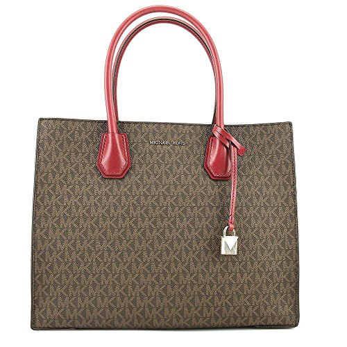Michael Kors Large Mercer Logo Tote - Brown / Mulberry ()