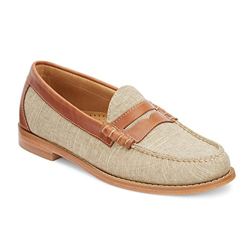 G.H. Bass & Co. Men's Larson Weejuns Vachetta/British Tan Canvas/Pull-up 10.5 D US (Footwear Tan Canvas)