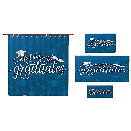 iPrint Bathroom 4 Piece Set Shower Curtain Floor mat Bath Towel Multi Style,Graduation Decor,College Celebration Ceremony Certificate Diploma Square Academic Cap,Blue and White,Diversified Design. by iPrint (Image #6)