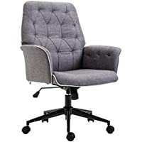 HOMCOM Modern Tufted Home Office Chair with Lumbar Support and Arms