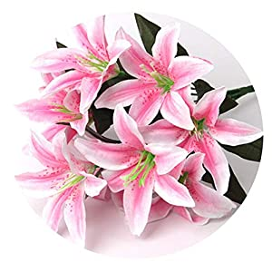 Zalin Artificial Lily Flower Wedding Decoration Fake Flowers Bouquet Office Party Home Decor 53