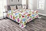 Lunarable Kids Wall Bedspread Set Queen Size, Cute Cartoon Birds Flowers Leaves Hearts and Butterflies Dotted Playroom Design, Decorative Quilted 3 Piece Coverlet Set with 2 Pillow Shams, Multicolor