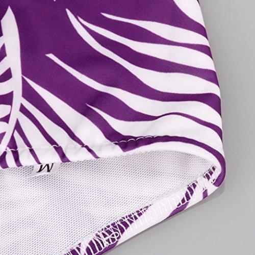 Rawdah Nuevo traje de baño atractivo de las mujeres empuja hacia arriba el sujetador acolchado del traje de baño de la impresión del bikiní de la playa Púrpura