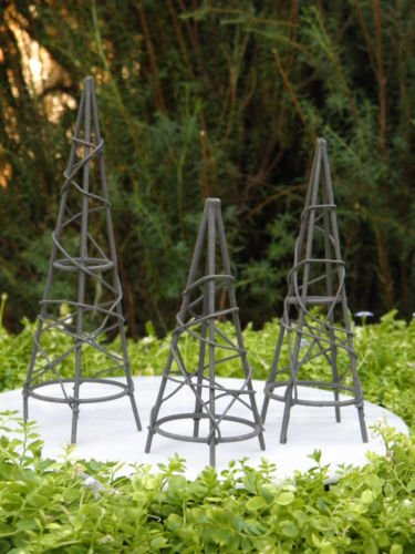 Miniature Dollhouse FAIRY GARDEN Furniture Rustic Iron Set / 3 Obelisk Trellis by I.E.Y.online-store (Obelisk Garden Furniture)