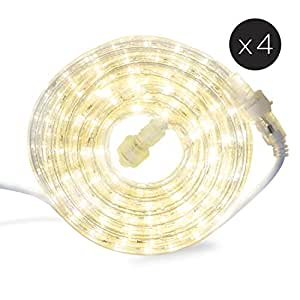 96 Ft. Plugin Rope Lights with Warm White LEDs | Connectable, Waterproof, Dimmable | Indoor & Outdoor Use | For Patios, Fences, Weddings and Christmas Decor
