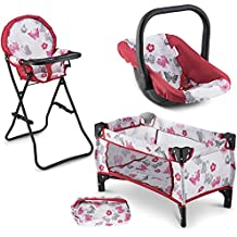 Litti Pritti 3 in 1 Doll Play Set 1 Doll Pack N Play. 2 Doll Bouncer 3.Doll High Chair. Fits 18'' Doll