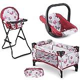 Litti Pritti 3 in 1 Doll Play Set 1 Doll Pack N Play. 2 Doll Bouncer 3.Doll High Chair. Fits 18'' Doll