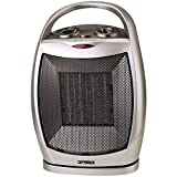 1 - Portable Oscillating Ceramic Heater with Thermostat, 2 heat settings (750W & 1,500W), Modern design mesh grill ceramic heater, Automatic thermostat control switch