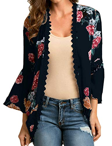 (Relipop Women's Sheer Chiffon Blouse Loose Tops Kimono Floral Print Cardigan)