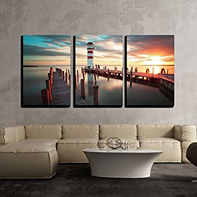 Ocean Lighthouse x3 Panels, Classic Design, Amazing Object of Art