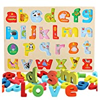 AiTuiTui Wooden Alphabet Puzzle Board ABC Letters with Cute Animal Illustration for Kids Toddlers Preschool Early Learning Educational Toys, 26pcs Lowercase Multi-Colored Jigsaw Blocks