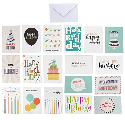 Birthday Set Happy Gift (144-Pack Happy Birthday Cards - Includes 18 Colorful Designs with Party Hats, Balloons, Gift Boxes, Birthday Cake and Stars, 8 of Each, Bulk Box Set Variety Pack with Envelopes Included, 4 x 6 Inches)