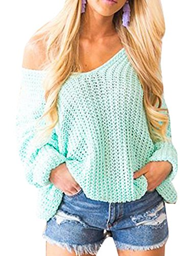 Womens Sweaters Pullover Oversized Off The Shoulder V Neck Knit Jumper Tops (Cashmere Knit Top)