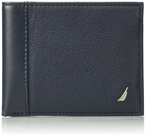 Nautica Men's Milled Leather Passcase Wallet, Navy