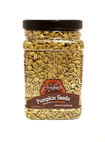 (Jaybee's Nuts Pumpkin Seeds Pepitas - Roasted Unsalted (2 LBS) Fresh, Vegetarian Friendly & Kosher Certified -Great Healthy Everyday Snack - Reusable Container)