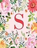 S: Monogram Initial S Notebook for Women and Girls, Pink Floral 8.5 x 11
