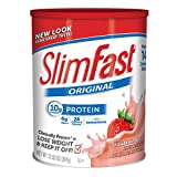 Slim Fast Original weight loss Meal Replacement shake mix powder with 10g of protein and 4g of fiber plus 24 Vitamins and Minerals per serving, Strawberries and Cream, 12.82 Oz