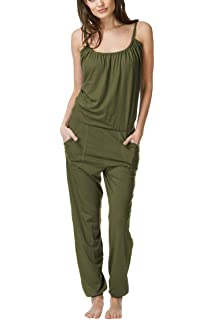 d57c16198b Linsery Women s Casual Loose Spaghetti Strap Jumpsuit Baggy Harem Pant  Jumper