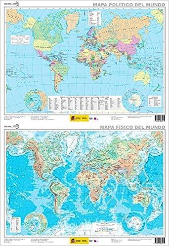 Mapa mural El mundo físico-político plastificado dos caras 52 x 38 1:82.350.000 IGN/CNIG: Amazon.es: VV.AA.: Libros