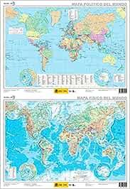 Mapa mural El mundo físico-político plastificado dos caras 52 x 38 ...