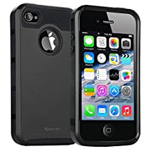 iPhone 4 Case,iPhone 4s Case,armor Impact Resistant Rugge Durable Shockproof Heavy Duty Protection Dual Layer Case Cover for Apple iPhone 4 and 4s (Black)