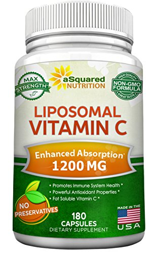 Liposomal Vitamin C - 1200mg Supplement - 180 Capsules - High Absorption VIT C Ascorbic Acid Pills - Liposome Encapsulated - Supports Immune System  Collagen Health - Non-GMO - 90 Servings best to buy