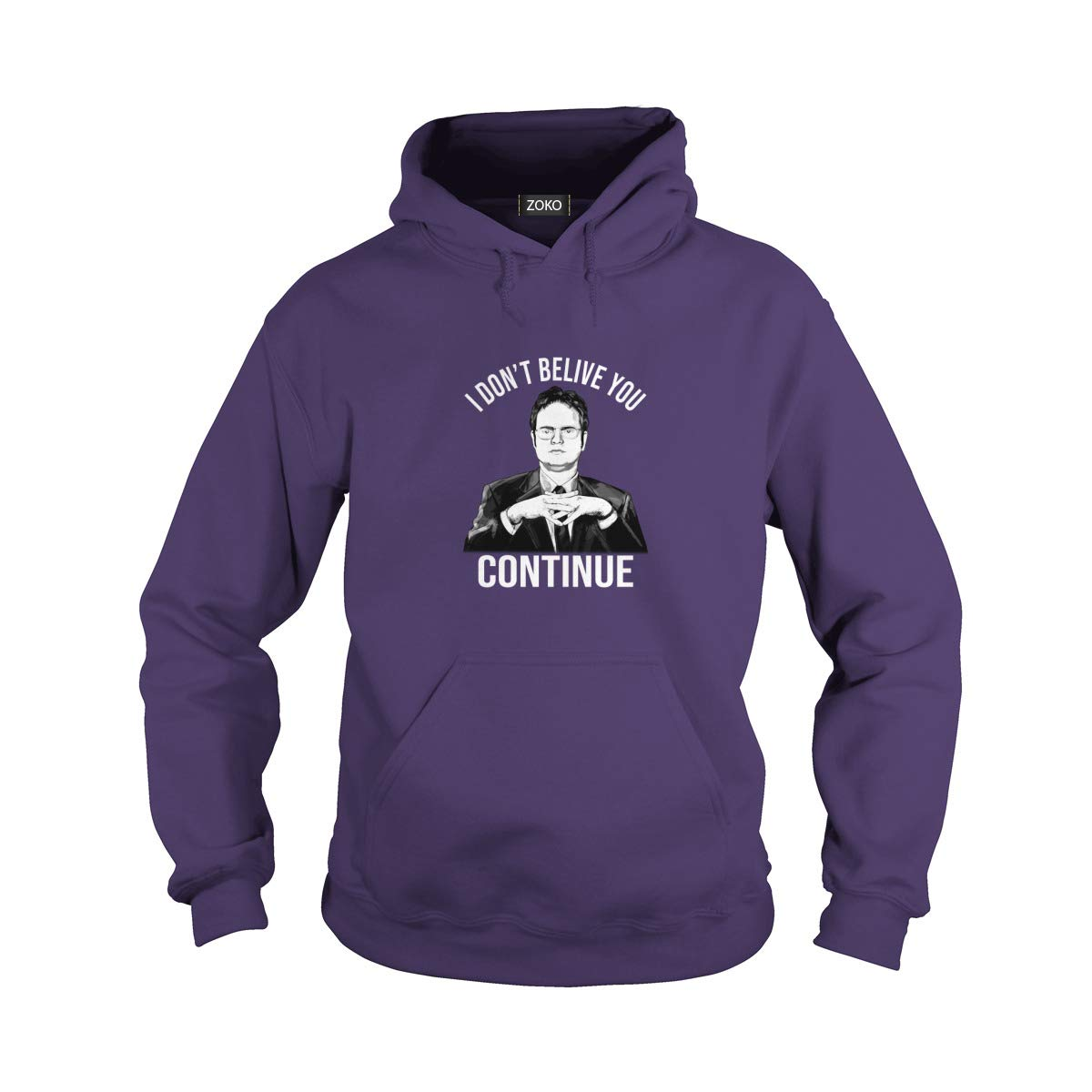 Hoodie Purple XLarge Zoko Apparel I Dont Belive You Continue TShirt