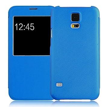 JAMMYLIZARD Carcasa para Galaxy S5, funda con tapa con ventana de apertura para Samsung Galaxy S5, color azul