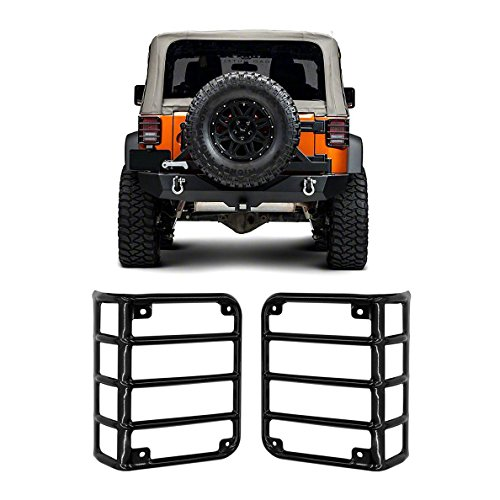 IBACP 2007-2017 Jeep JK Wrangler JK & Unlimited Sahara Sports Freedom & Rubicon Black Metal Euro Taillight Lamp Guard Cover